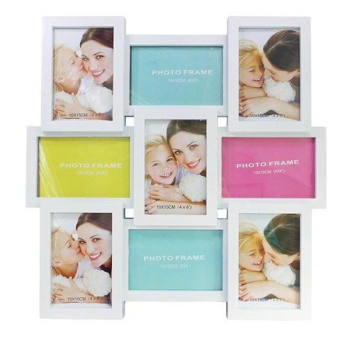 Home Decoration White Square Collage Photo Frame for 9 Pictures