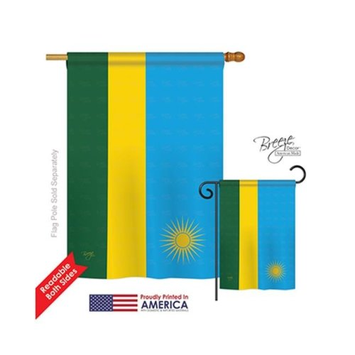 Breeze Decor 08292 Rwanda 2-Sided Vertical Impression House Flag - 28 x 40 in.