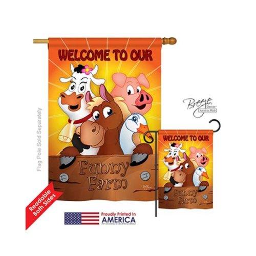 Breeze Decor 10039 Farm Animals Funny Farm 2-Sided Vertical Impression House Flag - 28 x 40 in.