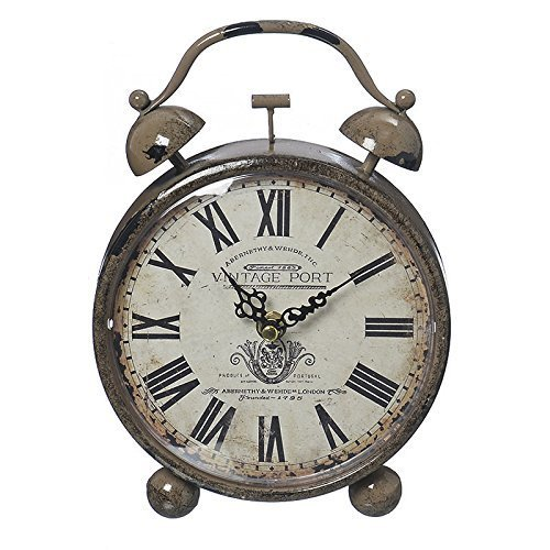 Alarm Clock Vintage Port in Shabby Chic Style with Roman Numerals