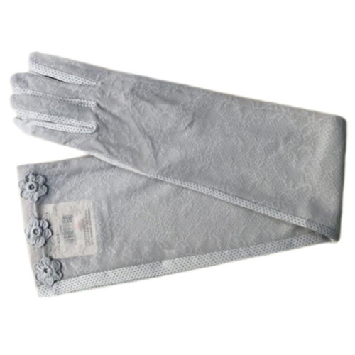 Lace Cotton Outdoor Sunscreen Clothing Women Gloves Breathable Thin Sun Protective Clothing Sleeves-Gray