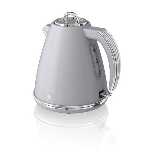 Swan, SK19020GRN, Retro 1.5 Litre Jug Kettle with 360 Degree Rotational Base, 3KW, Grey