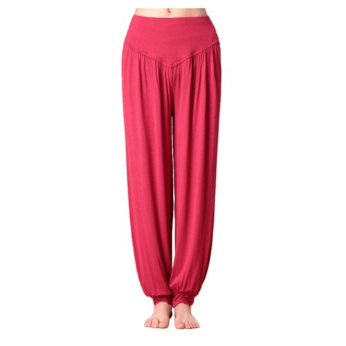 Solid Modal Cotton Soft Yoga Sports Dance Fitness Trousers Harem Pants, Q