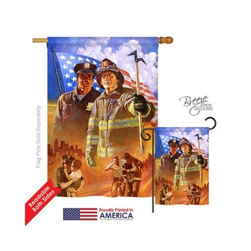 Breeze Decor 11065 Patriotic Heroes 2-Sided Vertical Impression House Flag - 28 x 40 in.