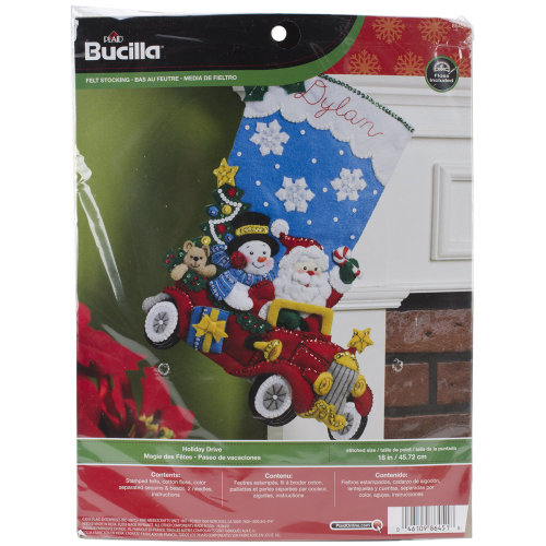 "Bucilla Felt Stocking Applique Kit 18"" Long-Holiday Drive"