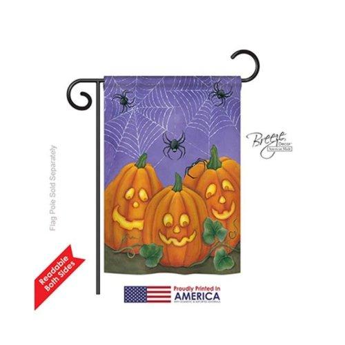 Breeze Decor 62054 Halloween 3 Pumpkins 2-Sided Impression Garden Flag - 13 x 18.5 in.