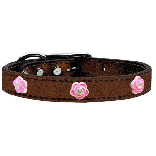 Mirage Pet 83-84 Bz22 Bright Pink Rose Widget Genuine Metallic Leather Dog Collar, Bronze - Size 22