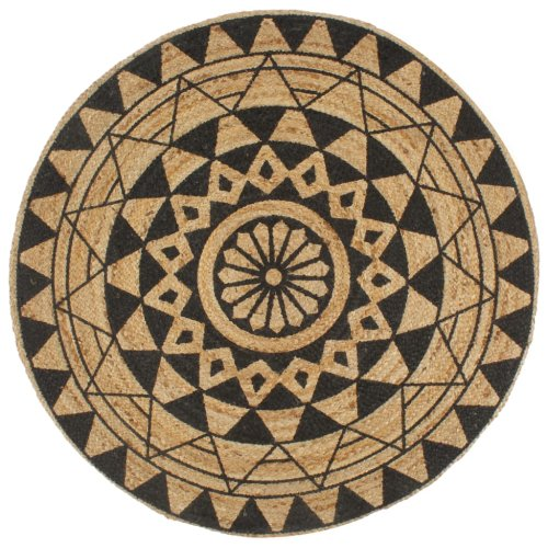 vidaXL Handmade Rug Jute with Black Print 150cm Room Floor Protector Carpet