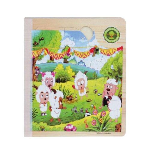 Popular Children Wooden Three-dimensional Sheep's Scenes Jigsaw Puzzle