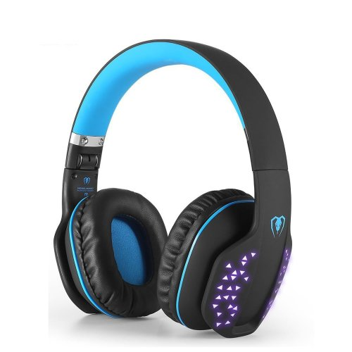 Bluetooth Headphone Over-Ear, Foldable Wireless HiFi Stereo Bluetooth 4.1 Headset Noise Cancelling LED effect, w/Built-in Microphone and Wired Mode for PC Laptop Tablet TV Cellphones(Blue)