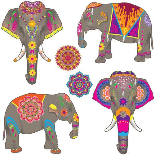 6 Piece Elephant Cutouts - Arabian Knights Animal Party Decorations