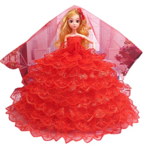 Elegant Dolls Wedding Party Dress Princess Clothes Dolls Outfits for Girl Birthday Gift, N