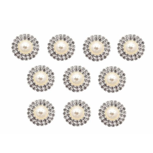 10 x Round Rhinestone Crystal Diamante and Pearl Embellishment with Double Row of Grade A Rhinestones