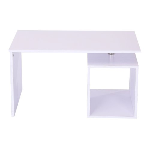 Homcom Coffee Table With Storage Cube | Contemporary White Coffee Table