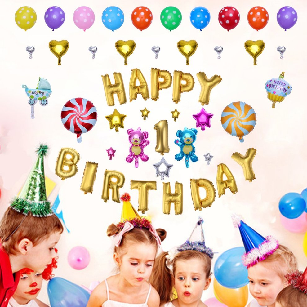 TOYMYTOY Happy Birthday Alphabet Letters Balloons Foil Mylar Party Decoration 1st Decorations