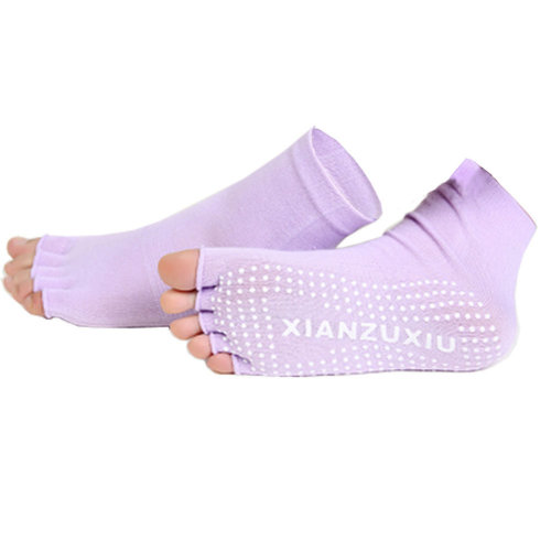 Women's Non-Slip Half Toe Yoga Socks With Grip 2 Pairs Set,Purple