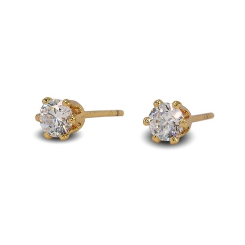 5efb421d4a2696 Blue Diamond Club - 18ct Gold Filled Stud Earrings Very Small Dainty Cute 4mm  White CZ Crystals Girls or Womens on OnBuy