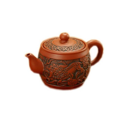 5.7 Oz Ancient Animal Kylin Purple Clay Teapot Orange