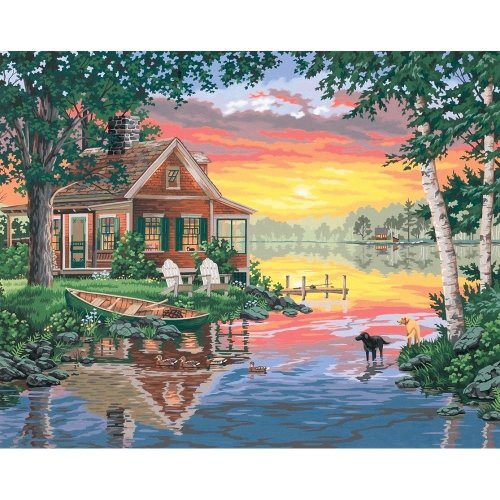 Dpw91315 - Paintsworks Paint by Numbers - Sunset Cabin