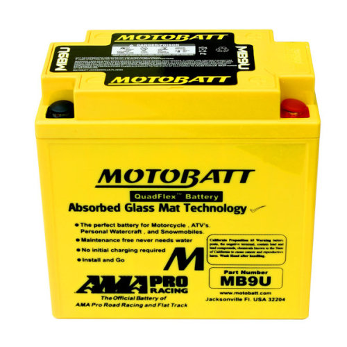 Motobatt MB9U Upgrade Motorcycle Battery Replaces YB9-B, 12N9-4B-1, YB9L-B