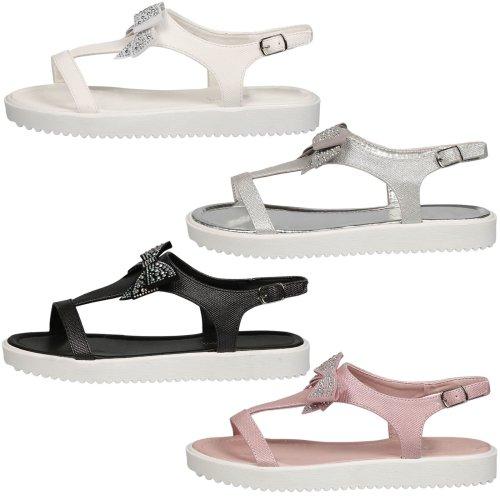 Shannon Girls Kids Flatform T Bar Diamante Bow Sandals Childrens Flat Shoes Size