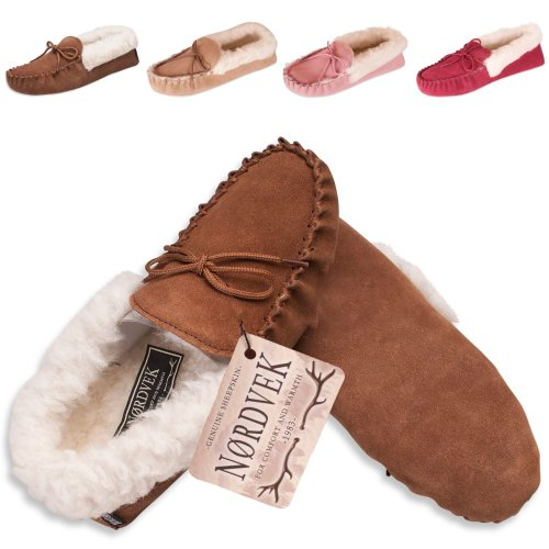 Nordvek Sheepskin Slippers for Women - Warm Wool Lined Moccasin - Non Slip Hard Sole # 418-100