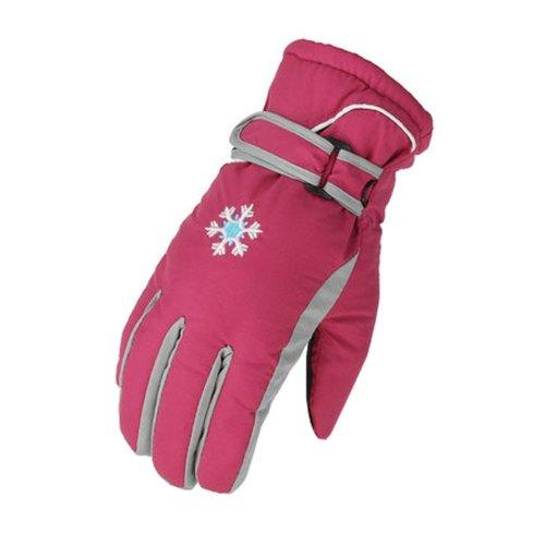 Children Warm  Waterproof Ski Gloves Skiing Gear Winter Sports Gloves Red