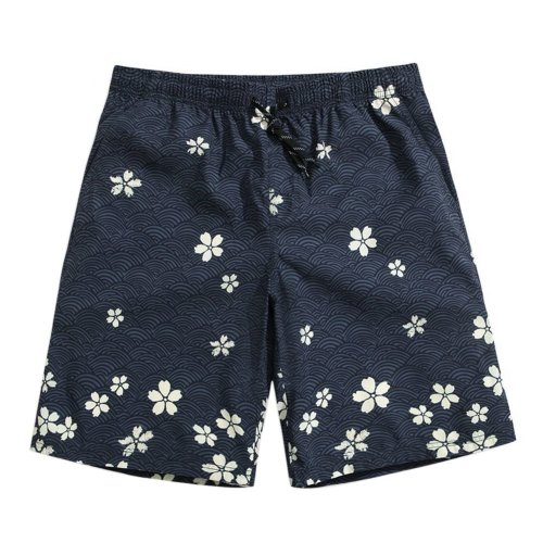Men's Sports Casual Beach Loose Fashion Shorts, White Cherry Blossoms