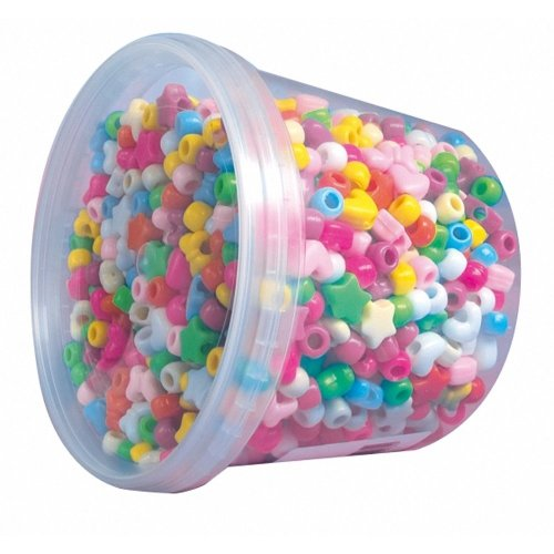 Pbx2455991 - Playbox - Plastic Beads in Jar (with Big Holes) - 1200 Pcs