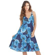 Pistachio, Ladies Midi V Neck Blue Floral Summer Holiday Dress, Blue, X-Large (UK 20-22)
