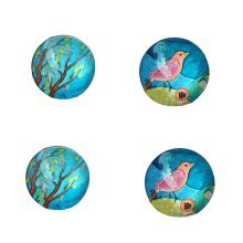 Set of 4 Kids Magnets Cute Blue Trees Magnets Glass Stone