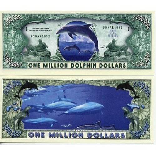 Dolphin Novelty Million Dollar Bill Collectible In Collector Grade Currency Holder