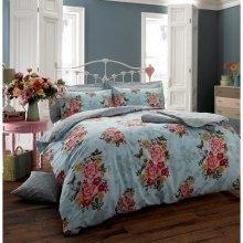 Ava butterfly teal blue cotton blend duvet cover