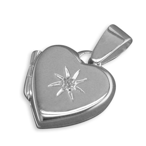 Childrens Sterling Silver Cubic Zirconia In Starburst Plain Heart Locket On A Curb Necklace
