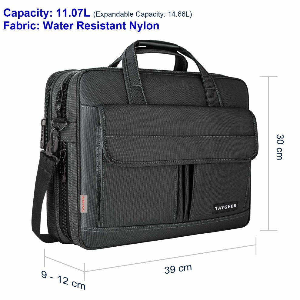 856aa1f0c44d Laptop Bag 15.6 Inch,Water Resistant Briefcase, 15inch Expandable Messenger  Shoulder Bag with Strap, Taygeer Carry On Handle Case for...