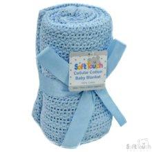 Cellular Cotton Pram Baby Blanket Baby Blue