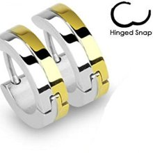 Pair Of Double Layer Steel and Gold Plated Stainless Steel Hinged Snap Close Huggy Hooped Earrings 0.8mm Thickness