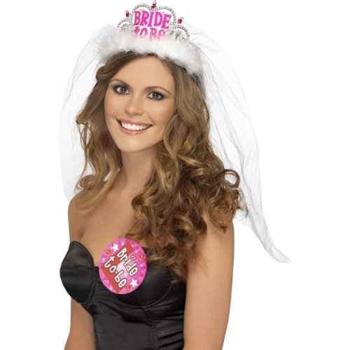 Bride To Be Tiara With Veil -  bride veil tiara hen accessory party night fancy dress white ladies costume pink