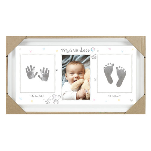 Baby Keepsake Hand Print & Foot Print White Photo Fame with Ink Pad FS612