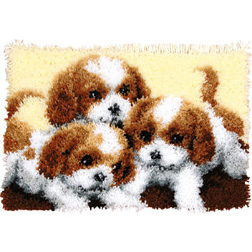 "Latch Hook Rug Kit""Playful Puppies"" 52x38cm"