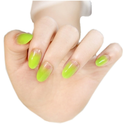 Stylish Gradient Nail Art French Style Pre-designed False Nails, Lime
