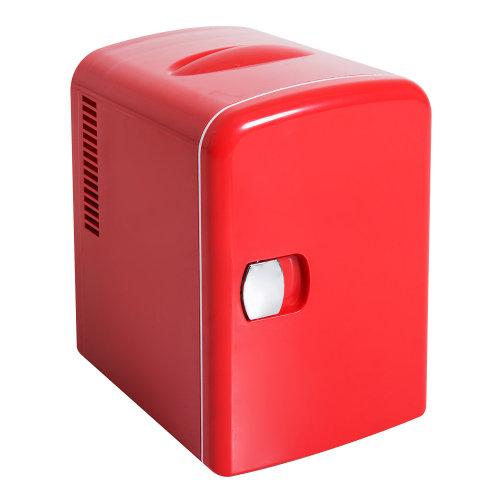 HOMCOM Electric Mini Fridge, 4L-Red