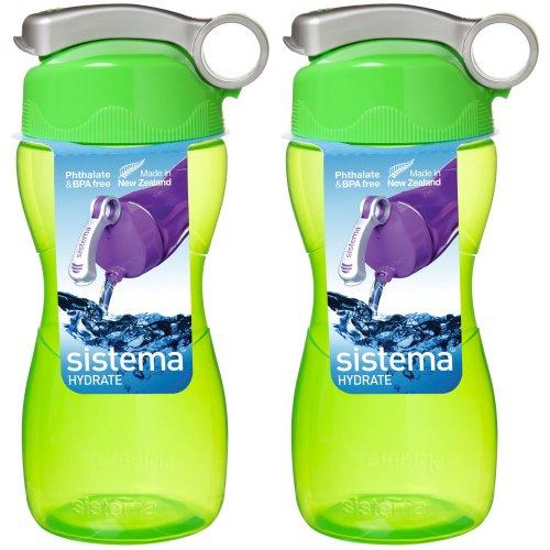 Sistema Hourglass Drink Bottle 475ml Green  x 2