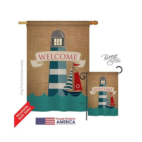 Breeze Decor 07046 Beach & Nautical Lighthouse & Sailboat 2-Sided Vertical Impression House Flag - 28 x 40 in.