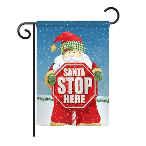Breeze Decor BD-XM-G-114137-IP-BO-DS02-US Santa Stop Here Winter - Seasonal Christmas Impressions Decorative Vertical Garden Flag - 13 x 18.5 in.