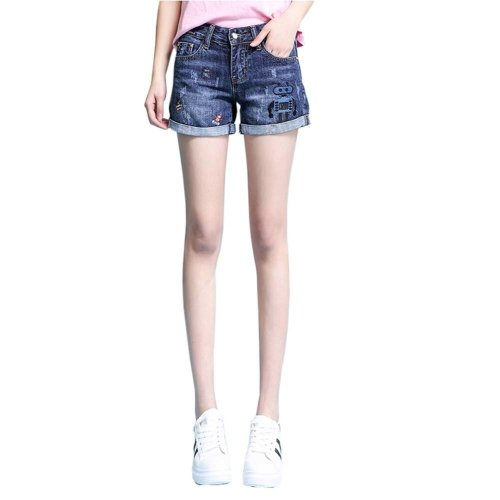 High-quality Jeans Shorts Exquisite Embroidery High Waist Shorts, C