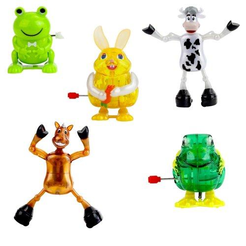 Set of 5 Forest & Farm Animal Wind-up Toys Party Bag Fillers or Desk Toys