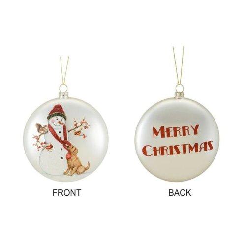 907e0af18 Melrose International 72897DS 5.5 in. Glass Snowman & Dog Disc Ornament,  Silver & Red - Set of 6 on OnBuy