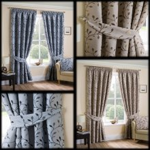 Delamere woven jacquard trailing leaves lined pencil pleat curtains