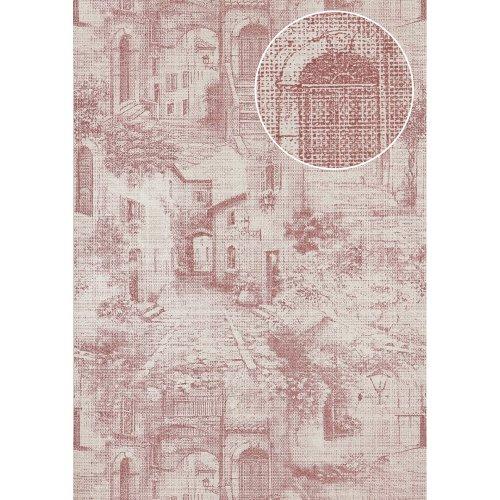 Atlas SIG-579-4 Graphic wallpaper shimmering red-violet white 5.33 sqm
